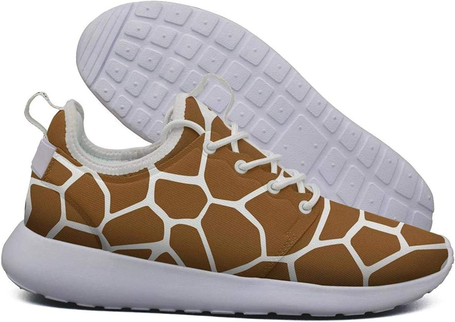 Hoohle Sports Womens Brown Giraffe Animal Skin Flex Mesh Roshe 2 Lightweight Beautiful Walking Jogging shoes