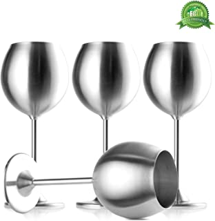 Modern Innovations Stainless Steel Stemmed Wine Glasses, Set of 4, 12 Oz Elegant Wine Glasses Made of Dishwasher Safe Unbreakable BPA Free Shatterproof SS Great for Daily, Formal & Outdoor Use