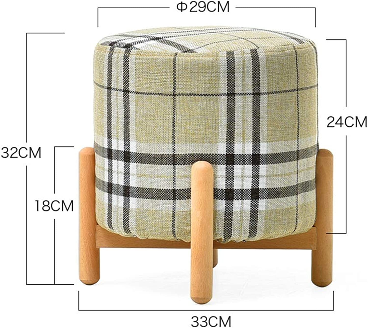 ZHAOYONGLI Footstools,Otools Solid Wood Home Small Bench Creative Sofa Stool Living Room Coffee Table Stool for shoes Bench (color   Log color Stripes, Size   29  29  32cm)