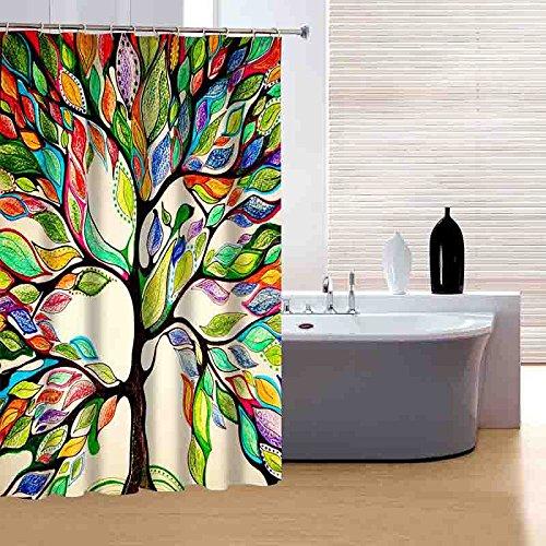 BAIGIO Rideau de Douche Arbre d'arbre imperméable, Lavable et résistant aux moisissures pour Salle de Bains - avec 12 Crochets