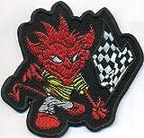 Devilflag Racing Teufel Finish Fahne Biker Muscle Car Rockabilly Aufnäher Patch