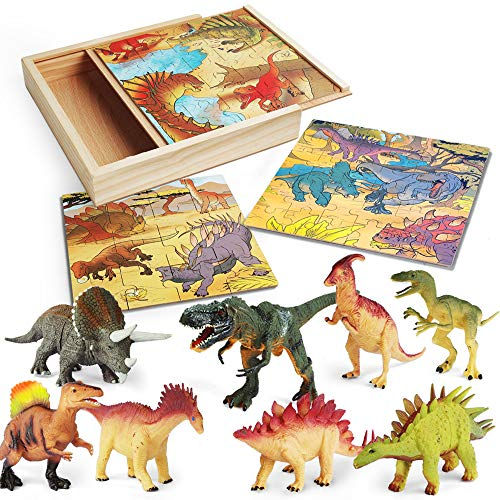 LURLIN 3 in 1 Dinosaur Jigsaw Puzzles in a Wooden Storage Box & 12 Pcs Realistic Dinosaur Figures -...