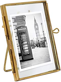 Isaac Jacobs 2x3, Antique Gold, Vintage Style Brass and Glass, Metal Floating Desk Photo Frame (Vertical), with Locket Closure for Pictures, Art, More