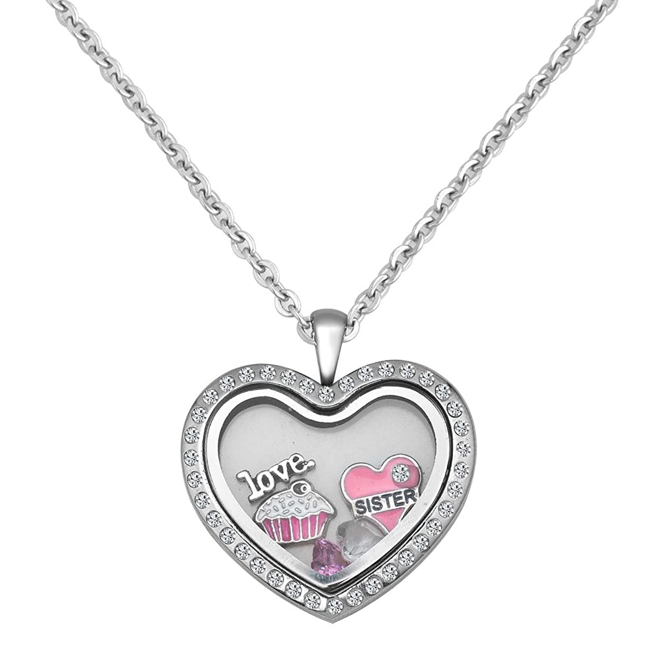 LuckyJewelry Sister Necklace I Love You Floating Charm Memory Heart Locket Magnetic Pendant Necklaces