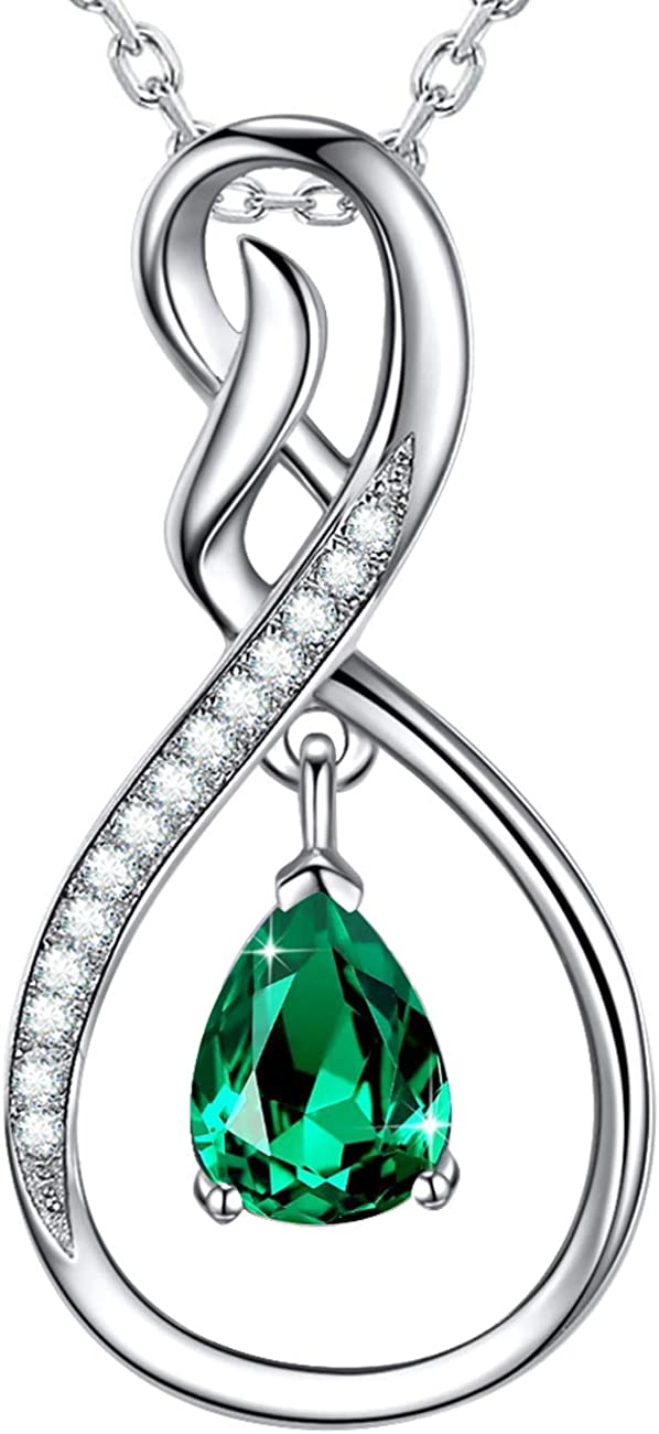 Forever Love Infinity Pendant Emerald Wife Mom Birt Tampa Mall Necklace Cheap mail order sales for