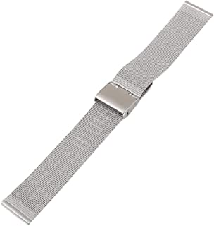 JLMXB Stainless Steel Watch Mesh Band Strap,18mm/22mm Milanese Watch Strap Replacement for Men and Women,Adjustable Hook Buckle Silver watchbad
