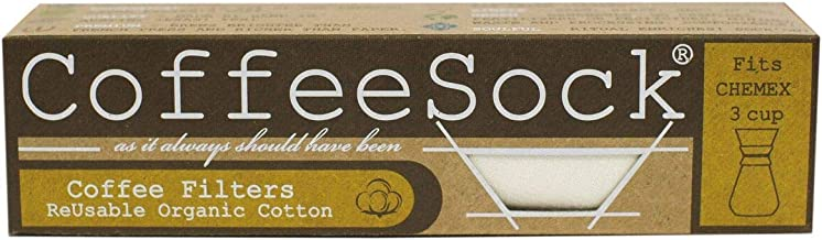 CoffeeSock Reusable Filters Made to Fit Chemex Half Moon 6-13 Cup Carafes - The Original Reusable Coffee Filter- GOTS Certified Organic Cotton Reusable Coffee Filters
