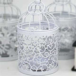 Bird Cage Metal Hollow Out Decorative Birdcage Iron Candle Holder Candlestick Hanging Lantern (White) (Z)
