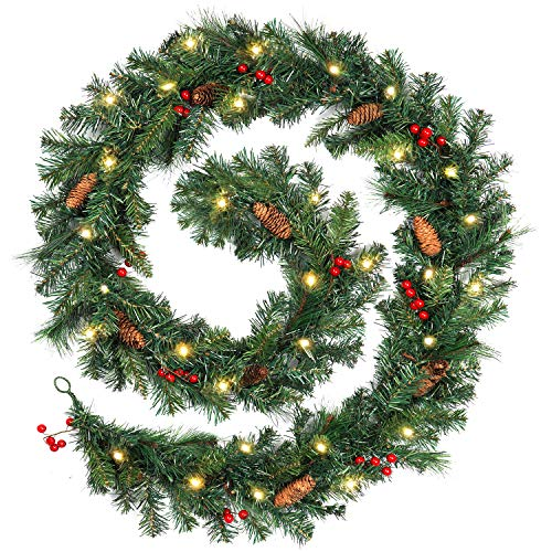 SHareconn 9Ft Pre-lit Artificial Christmas Garland with Pre-Strung Lights, Pine Cones and Red Berries,for The Best Xmas Decoration