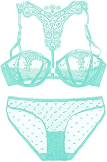 WNNEIYI Front Closure Bra Women Lingerie Set Embroidery Lace Brassiere Transparent Underwear Set