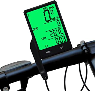 Black Fullwei Bicycle Speedometer and Odometer Wireless Waterproof Cycle Bike Computer with LCD Display /& Multi-Functions Stopwatch