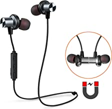 Tesson Bluetooth Headphones Wireless V4.1 Magnetic Earbuds Super Bass Stereo Noise Cancelling Earphones, Sweat Proof Comfortable, Secure Fit for Sports with Mic [Upgraded] (Silver)