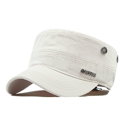 CACUSS Men s Cotton Army Cap Cadet Hat Military Flat Top Adjustable  Baseball Cap 3e0b55c12cb