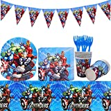 Juego de vajilla para fiesta de superhéroe - Tomicy 52 piezas, platos de papel de anime para niños, servilletas, tazas para bodas, cumpleaños, cumpleaños, baby shower