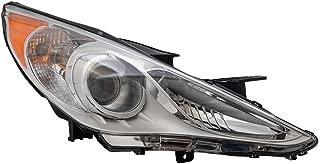 Passengers Headlight Headlamp with Bright Chrome Housing Replacement for 2011-2014 Sonata 92102-3Q000