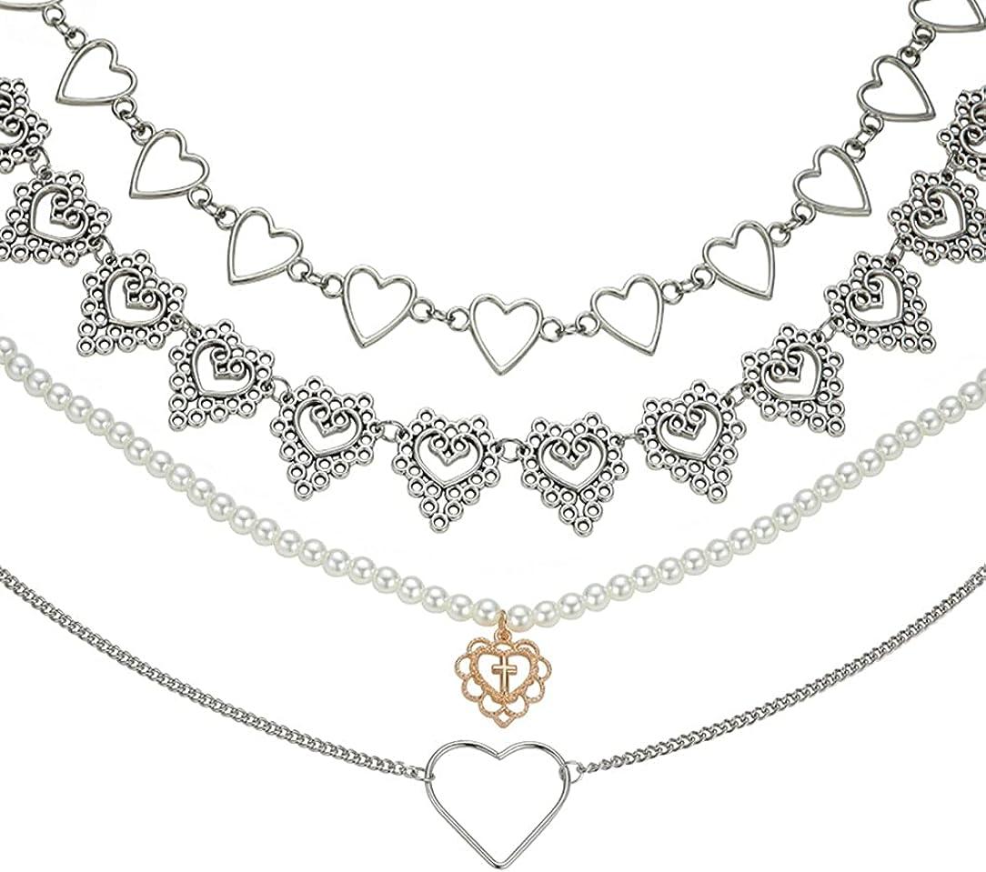 Chain Heart Choker Necklaces Set for Women Girls Heart Pendant Pearl Choker Y2k Necklace Goth Choker Aesthetic Jewellery
