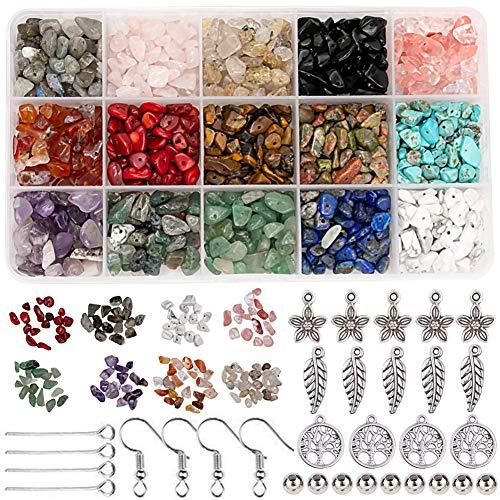 Potosala Chip Beads Natural Irregular Gemstone Beads Loose Beads 5-7mm Crystal Energy Stone Natural Gemstone Beads Kit for DIY Jewelry Necklace Bracelet Earring Making