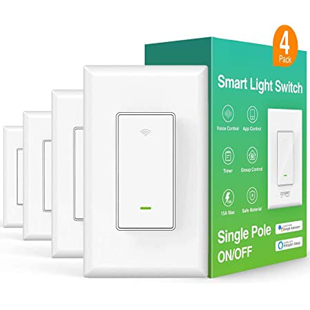Smart Light Switch, in-Wall WiFi Smart Switch That Works with Alexa and Google Home, No Hub Required, Neutral Wire Needed, Single-Pole 15A, Etl and Fcc Listed,4 Pack White