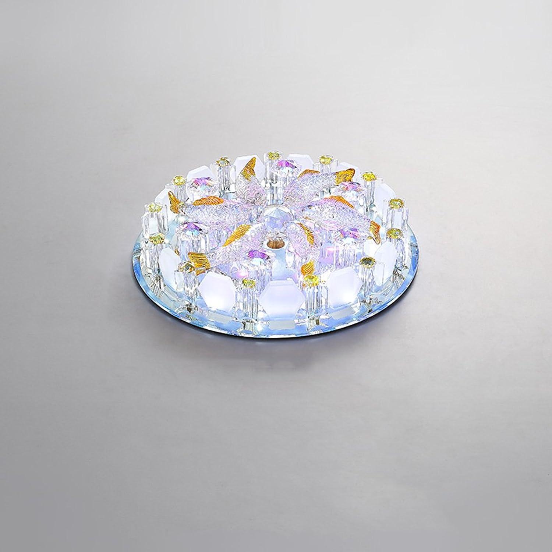 Peaceip Deckenleuchte Europische Kreative Kristall Farbe Runde LED Licht Balkon Gang Flur Foyer Eingang Lampe (gre   S)