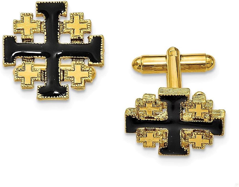 FB JEWELS Gold Tone Black Enameled Jerusalem Cross Cufflinks