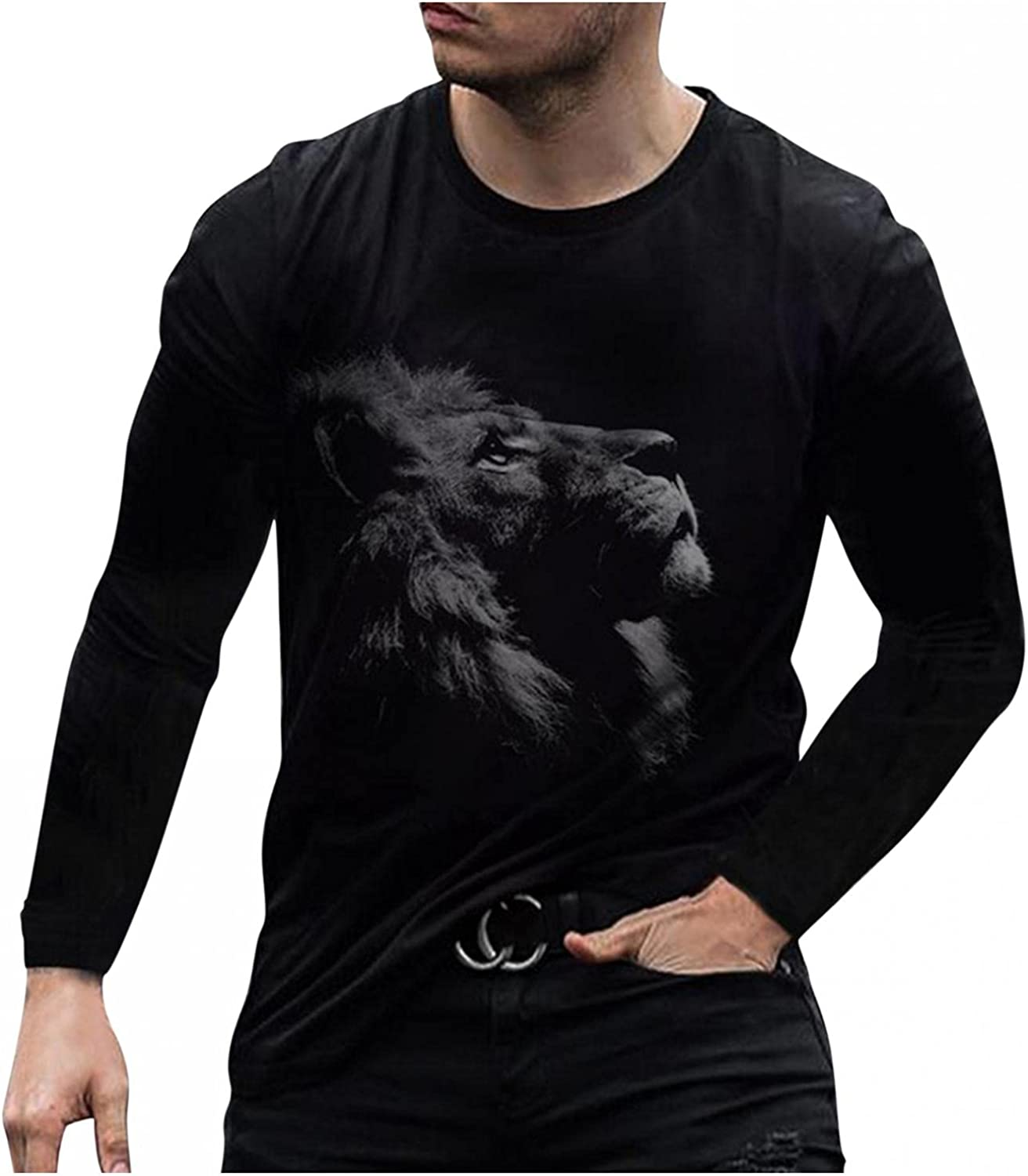 WUAI-Men Long Sleeve Graphic T-Shirts Funny 3D Digital Animal Printed Crewneck Slim Fit Athletic Workout Muscle Tops