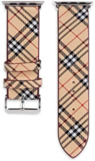40mm 38mm Tartan Plaid Style Replacement Strap Wrist Band Watch Band with Silver Metal Adapter Compatible for Apple Watch Series 4 3 2 1 (Not fit for iWatch 44mm/42mm) Khaki