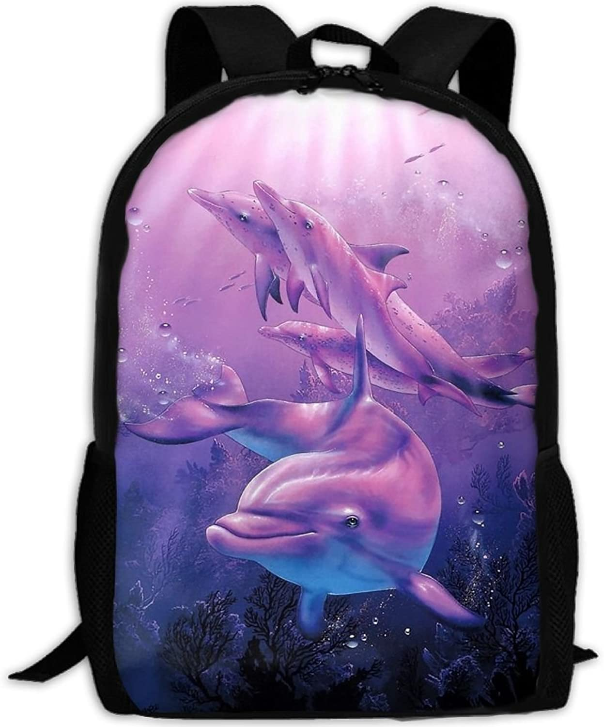 Backpack Laptop Travel Hiking School Bags Dolphin Cartoon Daypack Shoulder Bag