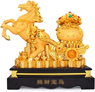 Xiao Hong Home Statues Golden Horse Decoration Resin Crafts Feng Shui Gift Golden Mara Ingot Cornucopia Office Statue (Color : Gold, Size : 572253cm)