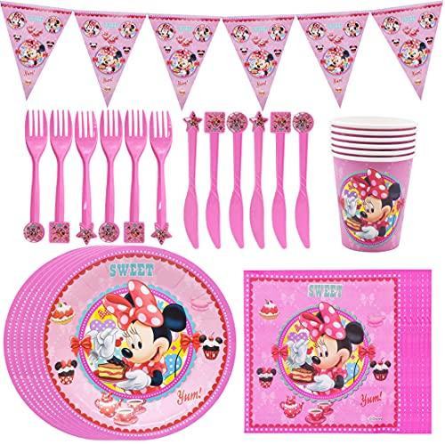Micky Minnie Maus Tischdecke,Partygeschirr Geburtstag , Mickey Mouse Birthday Party Decoration Set Dazu gehören Teller und Alles Gute Zum Geburtstag Pull Flag, Tischdeko Partygeschirr Set - 6 Personen