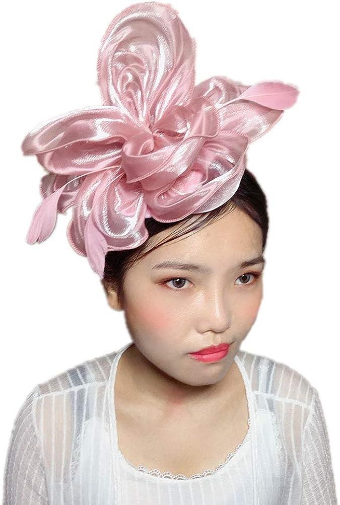 YSJOY Elegant Feather Silk Satin Flower Fascinator Bridal Wedding Hat Derby Hat