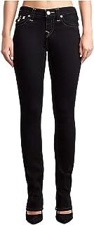 True Religion Women's Billie Straight Super Stretch Jeans w/Flap Pockets in Body Rinse Black