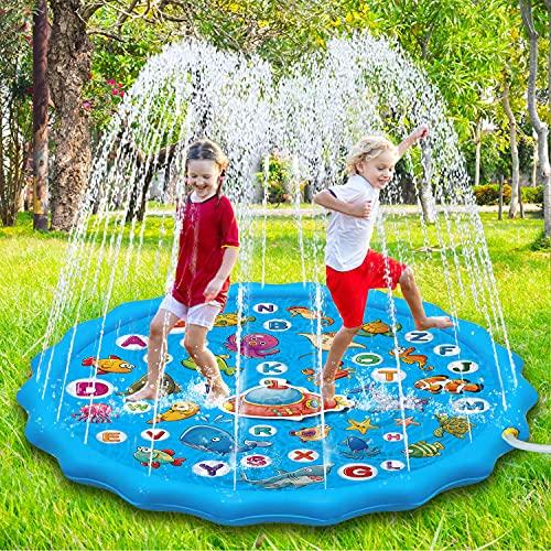 Paochocky Tappetino Gioco d Acqua per Bambini, 170cm Aumento Antiscivolo Splash Pad, Spruzza la piscina con giochi d acqua, Giocattolo per tappetino spray da giardino per giochi all aperto per Bambini