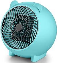 Dengc Calentador de Ventilador eléctrico Mini Ventilador de Aire Caliente de cerámica Personal portátil Calentador de Manos de Invierno Estufa de calefacción de Escritorio Radiador-Azul