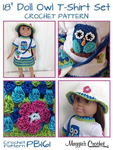 "Crochet Pattern Owl T-Shirt Dress, Hat & Purse for 18"" Doll PB161 aff"
