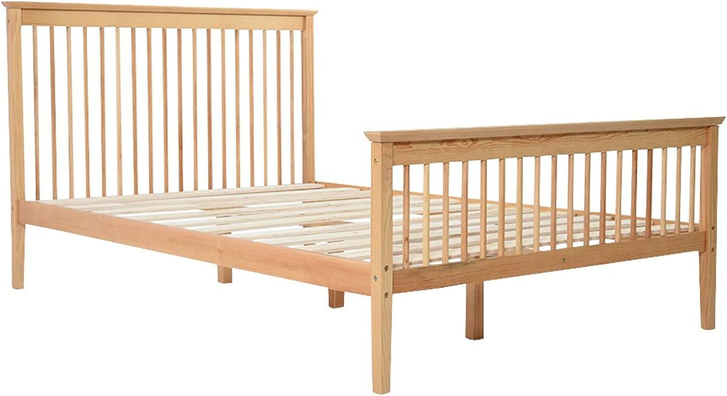Britoniture 4FT Double Wooden Bed Frame Solid Pine Bedroom in Natural