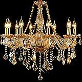 8012 Araña de Cristal Ámbar Golden 6 Luces Vela Lámpara Colgante Maria Teresa (10 Brazos)