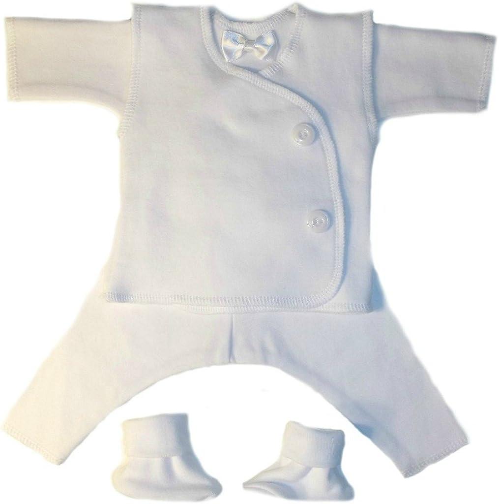Jacqui's Baby Boys' Cotton Knit White Vest Suit 4 Piece Set