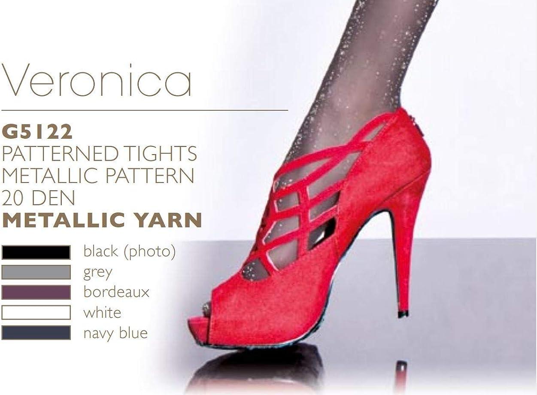 VERONICA Matte Metallic Patterned Fashion Tights (Grey, Medium)