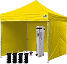 Eurmax 10'x10' Ez Pop-up Canopy Tent Commercial Instant Canopies with 4 Removable Zipper End Side Walls and Roller Bag, Bonus 4 SandBags (Yellow)