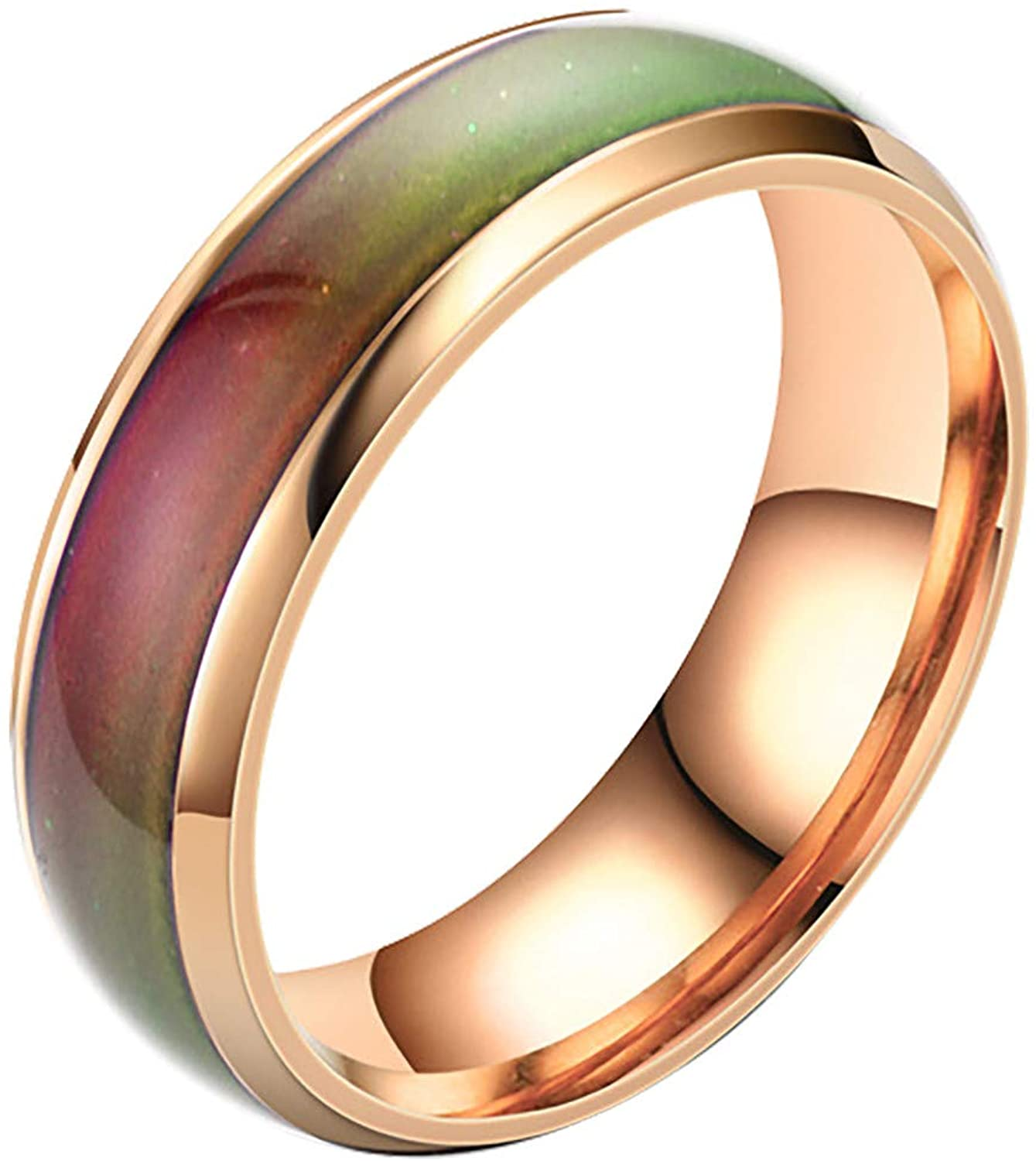 2021 Stainless Steel Temperature Sensative Color Changing Wedding Band Mood Ring for Women Men