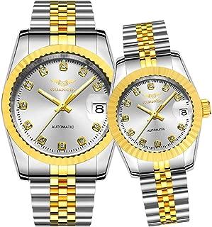 Guanqin Men Women Couple Automatic Self Winding Luminous Date Wrist Watch Set with Steel Band Silver Gold White