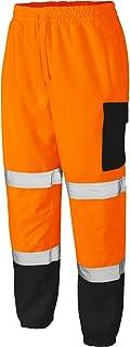 Mens Hi Vis Work Fleece Bottoms Safety Sweat Pants Jogging Trousers Joggers Viz