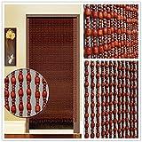 GuoWei-Cortinas de Cuentas de Madera Cuerdas Colgante para Puerta Decoración Dormitorio Divisor de Habitación Panel Biombo Personalizable (Color : Marrón, Tamaño : 35 Strings-1.0x2.0m)
