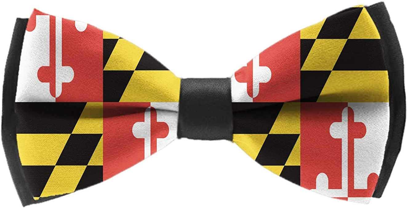 COLORFULSKY Maryland State Flag Pre-Tied Bow Tie Adjustable Bowties for Mens & Boys