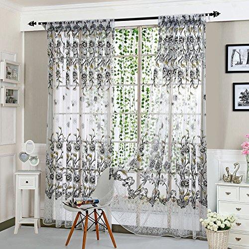 Rideau de fenêtre en tulle, Fami Rideau de mode en tissu Drape Valance  (Gris, A)