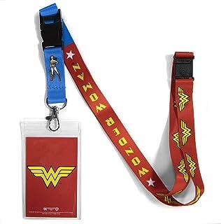 حبل ووندر وومان ذو وجهين من شركة أتا بوي دي سي كوميكس مع مشبك منفصل وحامل لبطاقة الهوية.