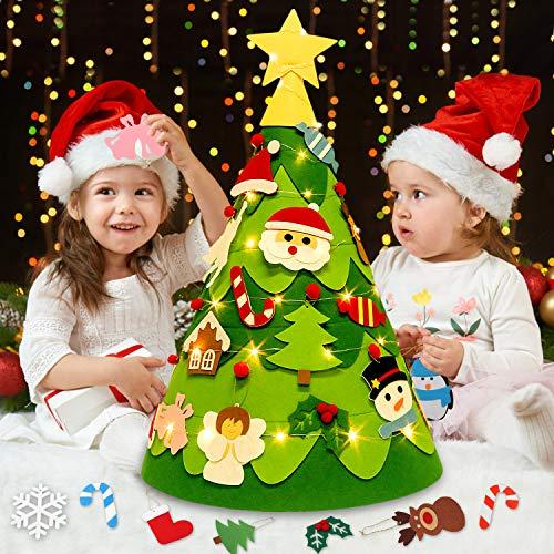 Outgeek Kinder Weihnachtsbaum, 3D Toddler DIY Weihnachtsbaum aus Filz mit 28 Ornamenten 50 LED-Leuchten für Kinder Haustür Wand Weihnachtsdekoration