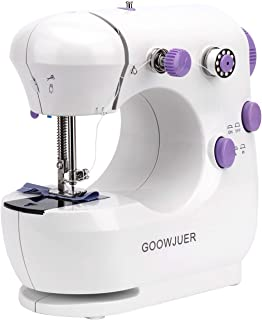 GOOWJUER Portable Sewing Machine, Mini Electric Sewing Machines with Extension Table, Household Lightweight Hand Sewing Ma...