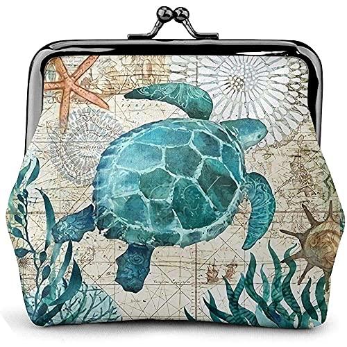 qiaohuan shop Cartera con hebilla de monedero para mujer con diseño de tortuga marina, bolsa linda con cierre de beso y cambio de maquillaje de viaje, Marine Life Theme Sea Turtle Coin Purse, Bronce,