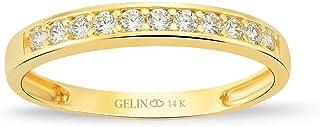 خاتم زفاف نصف دائري من جيلين من الذهب عيار 14 قيراط | خاتم الذكرى السنوية للنساء | خواتم متراصة المجوهرات